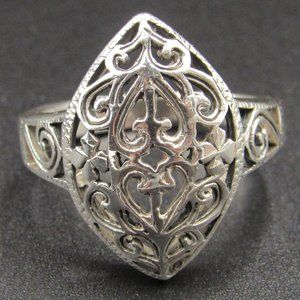 Size 8.25 Sterling Ornate Unique Hearts Band Ring